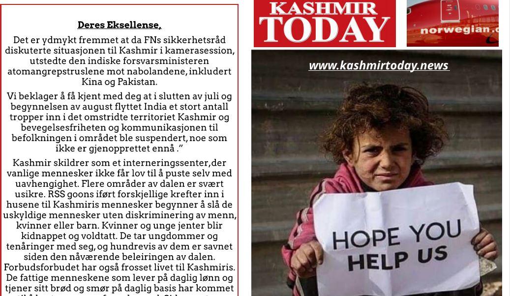 Norwegian Article on Kashmir