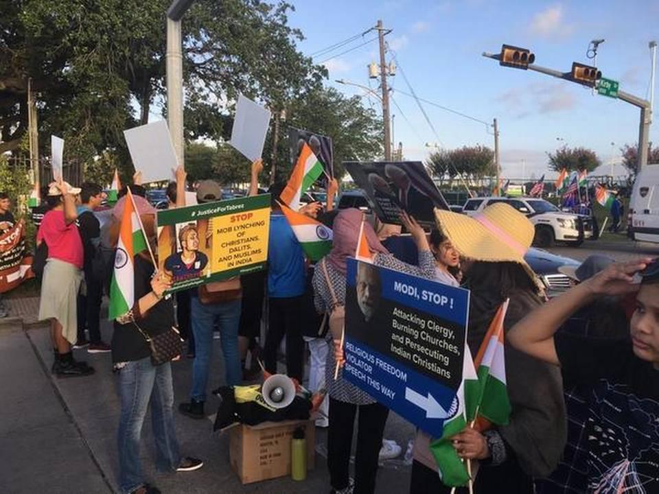 'Howdy Modi' event: Protests outside NRG stadium